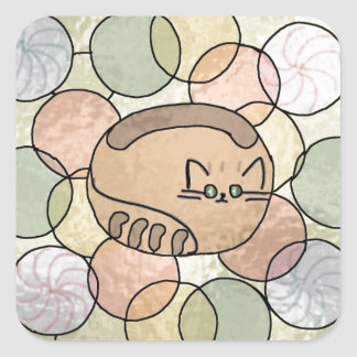 Stained glass candy cat square sticker