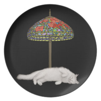 Stained Glass Cat Sun Lamp Plate