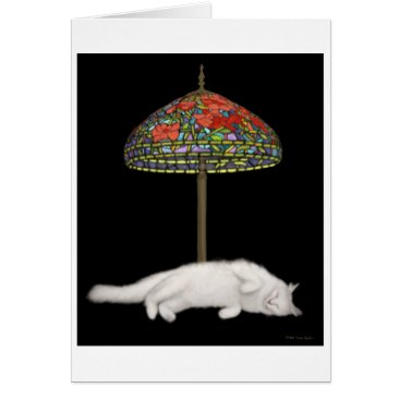McTiffany Tiffany Aqua Stained Glass Cat Sunlamp Card