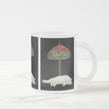 McTiffany Tiffany Aqua Stained Glass Cat Sunlamp Glass Mug
