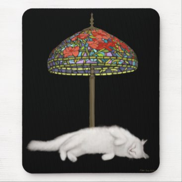 McTiffany Tiffany Aqua Stained Glass Cat Sunlamp Mousepad
