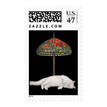 McTiffany Tiffany Aqua Stained Glass Cat Sunlamp Postage