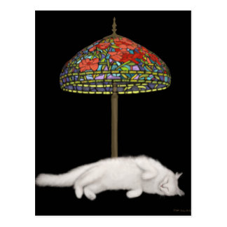 Stained Glass Cat Sunlamp Postcard