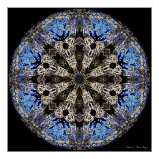 Stained-Glass Cathedral Window Mandala Poster