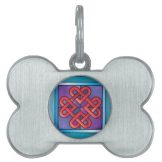 Stained Glass Celtic Hearts Design Gift Pet Tags
