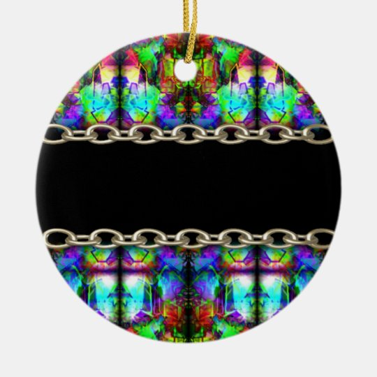Stained-Glass chain pattern by Valxart.com Ceramic Ornament