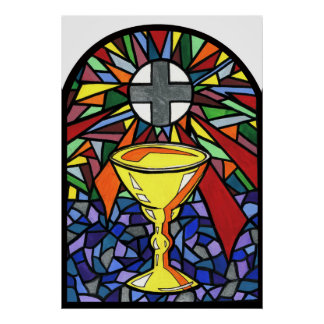 Stained Glass Chalice Art Poster