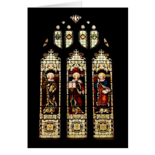 Stained glass christmas card zazzle