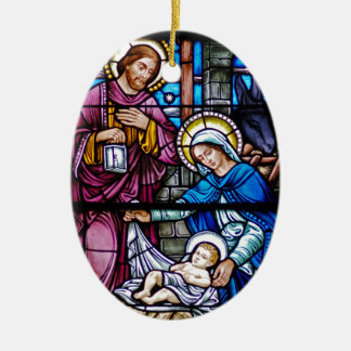 Stained Glass Christmas Ceramic Ornament