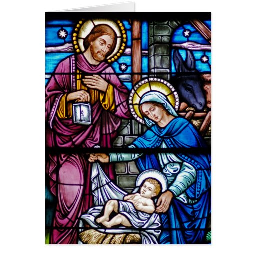 Stained glass christmas greeting card zazzle