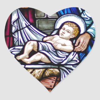 Stained Glass Christmas Heart Sticker