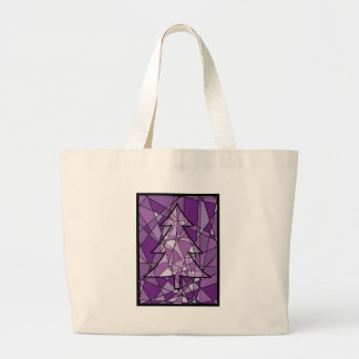 Stained Glass Christmas Tree Tote Bags