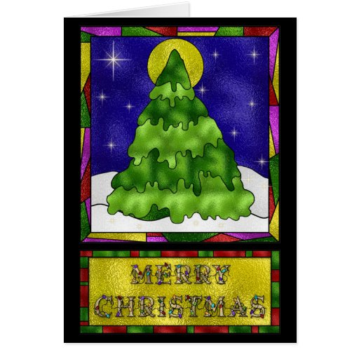 Stained glass christmas tree greeting cards zazzle