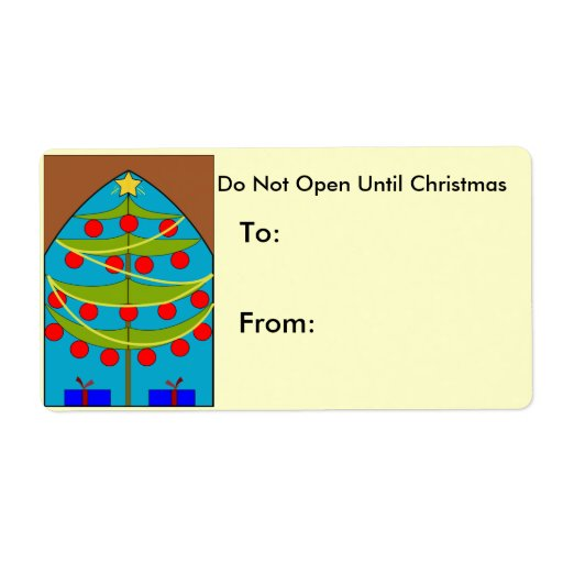 Stained Glass Christmas Tree  Label