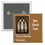 Stained Glass Church Greeter Name tags 2 Inch Square Button