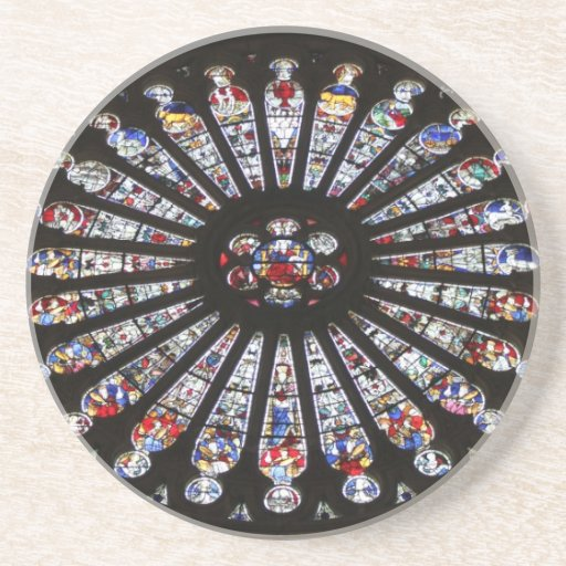 Stained-Glass Church Rose Window Beverage Coaster