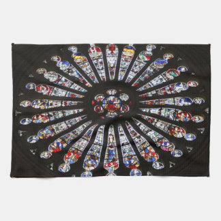 Stained-Glass Church Rose Window Hand Towels