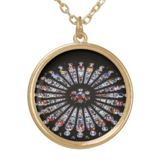 Stained-Glass Church Rose Window Round Pendant Necklace