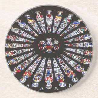 Stained-Glass Church Rose Window Sandstone Coaster