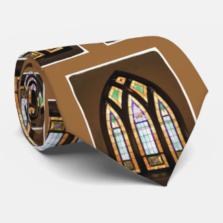Stained Glass Church Window Painting Brown Tan Tie