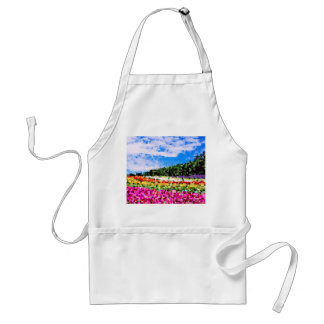 Stained Glass Colorful Flower Field Bluesky Mosaic Adult Apron