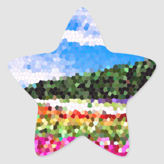 Stained Glass Colorful Flower Field Bluesky Mosaic Star Sticker