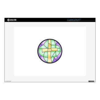 """Stained Glass Cross 15"""" Laptop Decal"""