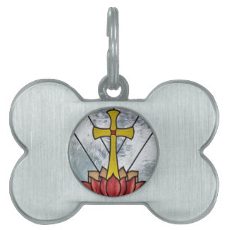 Stained Glass Cross Gift, Tie, Sticker, Chain Pet ID Tag