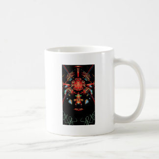 Stained glass cross in black, red and gold coffee mug