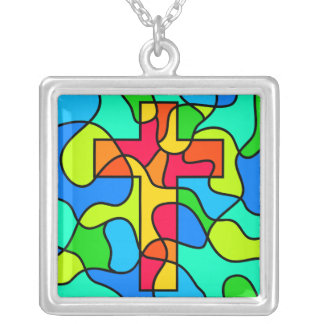 Stained Glass Cross Square Pendant Necklace