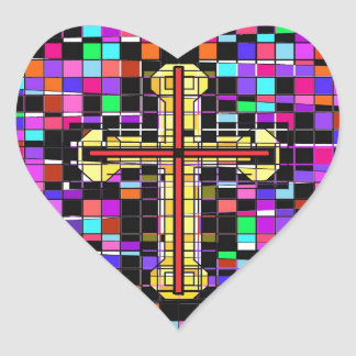 Stained Glass Crucifix. Heart Sticker
