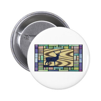 Stained glass deer-in-walnut-on-oak-background button