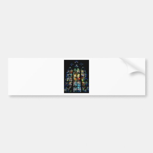 Stained glass design bumper sticker zazzle for Getting stickers off glass