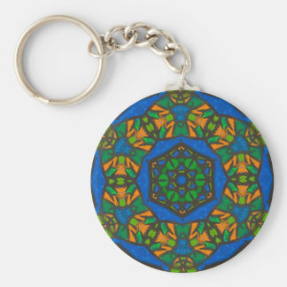Stained Glass Design Gift for Her Basic Round Button Keychain