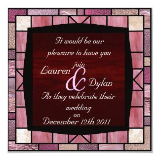 """Stained Glass Design & Reddish Wedding Invitation 5.25"""" Square Invitation Card"""