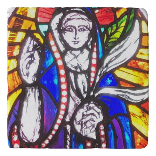 Stained Glass Design With Religious Figure Trivet Zazzle Com