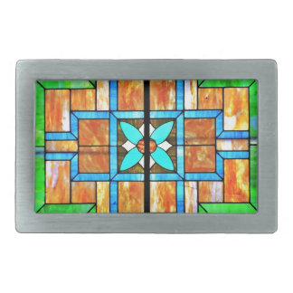 Stained glass detail rectangular belt buckle