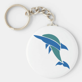 Stained Glass Dolphin Basic Round Button Keychain