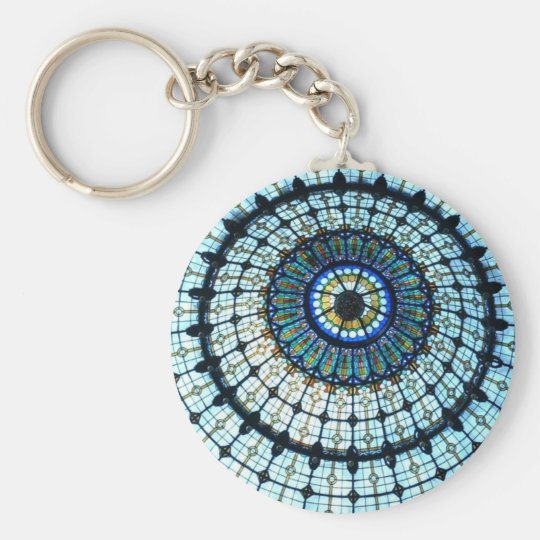 Stained glass dome keychain