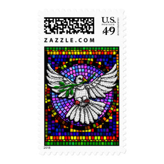 Stained Glass Dove postage stamp
