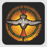 Stained glass dove square sticker