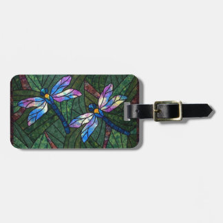 Stained Glass Dragonflies Bag Tag
