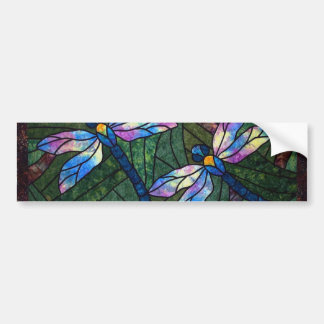 Stained Glass Dragonflies Bumper Sticker
