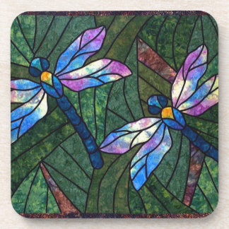 Stained Glass Dragonflies Coaster