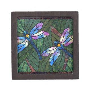 Stained Glass Dragonflies Premium Trinket Box