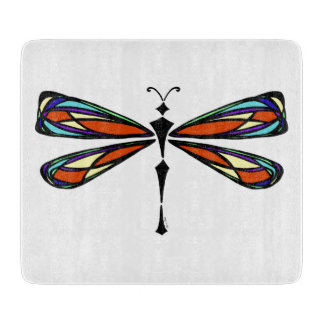 Stained Glass Dragonfly Decorative Cutting Board