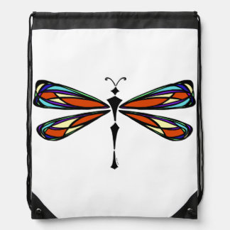 Stained Glass Dragonfly Drawstring Backpack