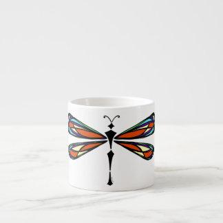 Stained Glass Dragonfly Espresso Mug 6 Oz Ceramic Espresso Cup