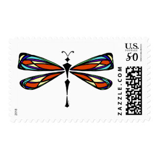 Stained Glass Dragonfly Medium Postage Stamp