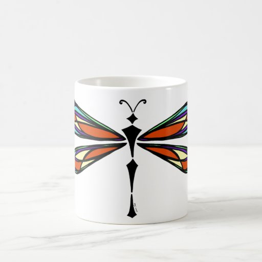 Stained Glass Dragonfly Mug